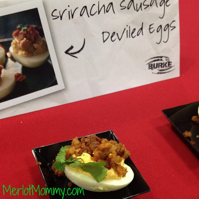 Sriracha Sausage Deviled Egg by Burke. This was by far the most delicious deviled egg I've ever had.