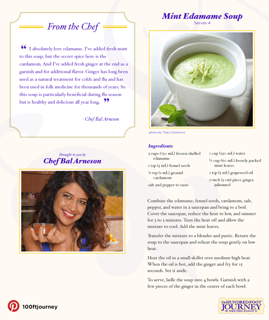 Mint Edamame Soup Recipe from THE HUNDRED-FOOT JOURNEY #100FootJourneyEvent
