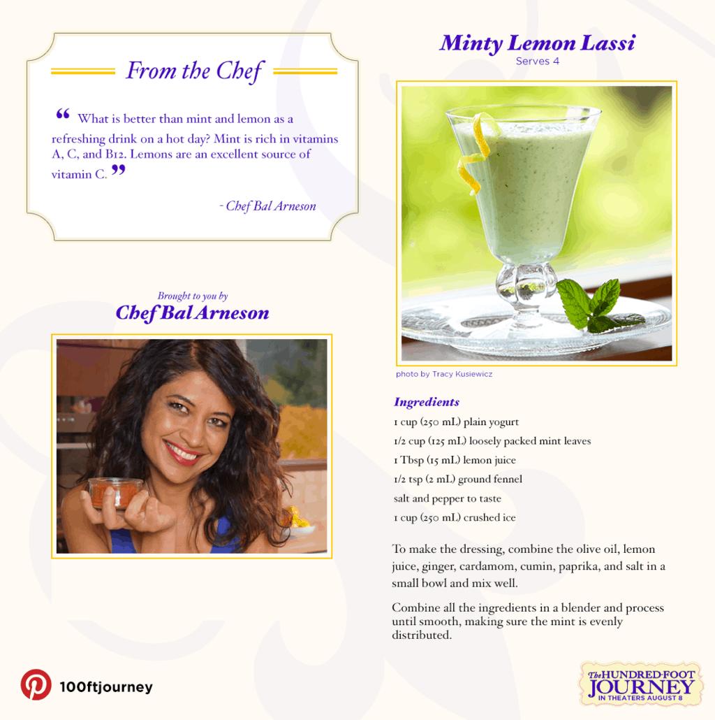 Mint Lemon Lassi Recipe from THE HUNDRED-FOOT JOURNEY #100FootJourneyEvent