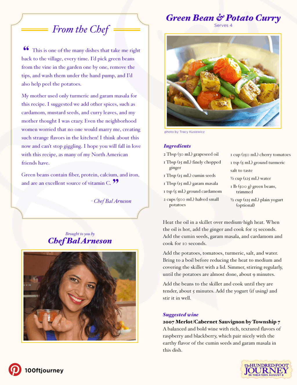Green Bean and Potato Curry Recipe from THE HUNDRED-FOOT JOURNEY #100FootJourneyEvent