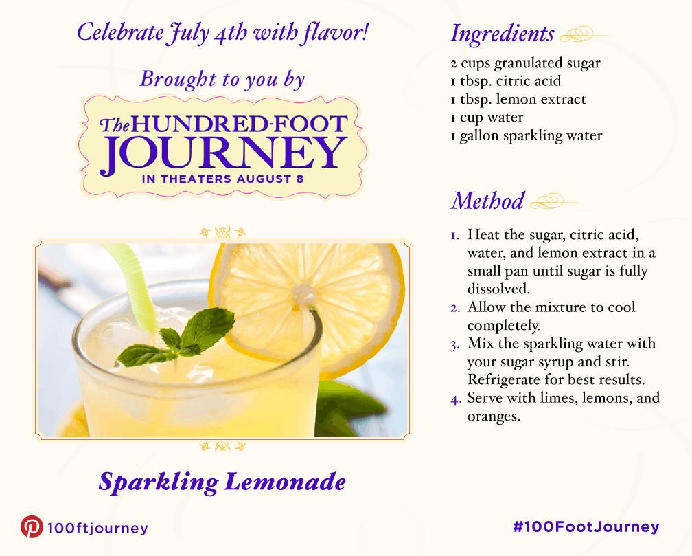 100 foot journey sparkling lemonade