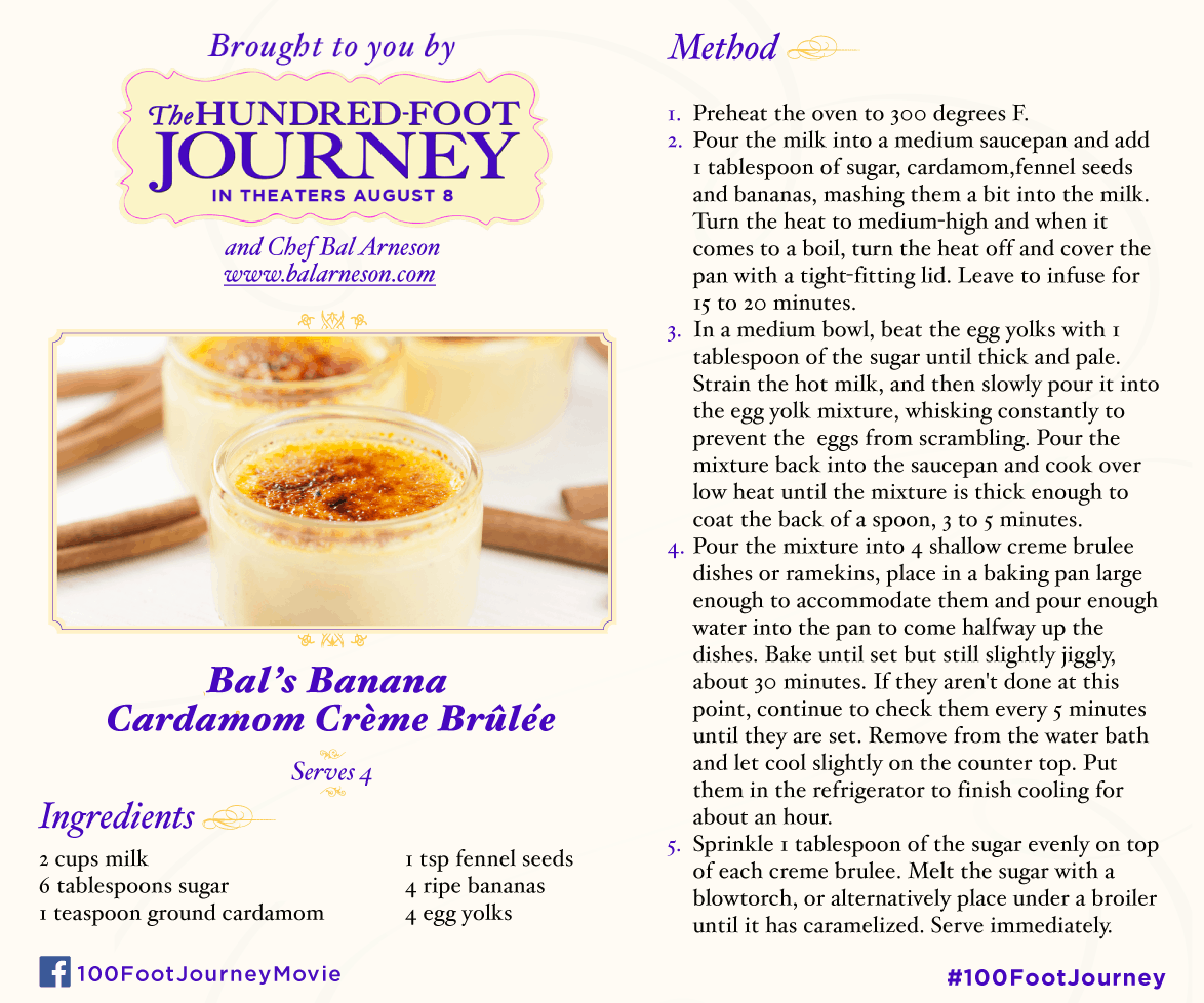 Banana Caradmom Crème Brûlée Recipe from THE HUNDRED-FOOT JOURNEY ‪#‎100FootJourneyEvent