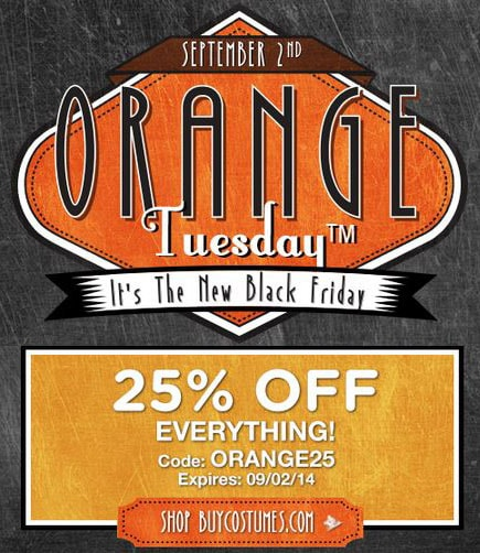 Save 25% on Halloween Costumes: BuyCostumes Orange Tuesday Event Ends 9/2!