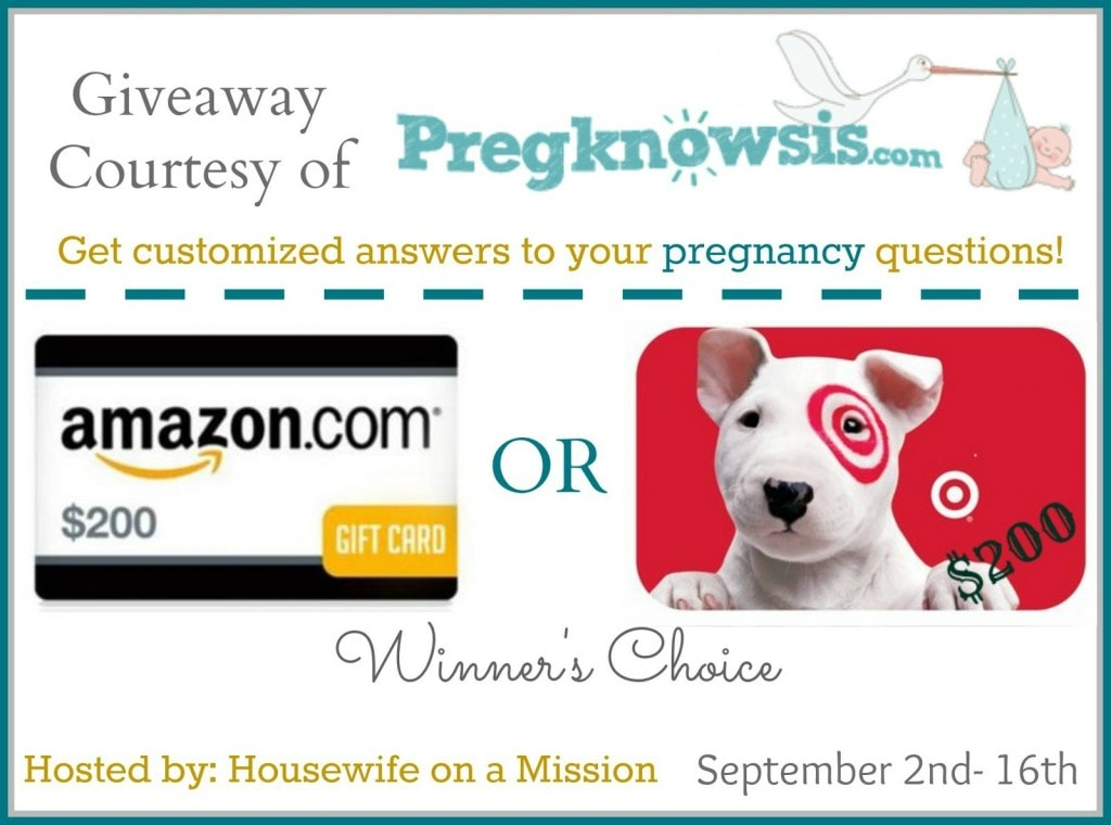 Pregknowsis $200 Gift Card (Amazon/Target) #Giveaway ends 9/16
