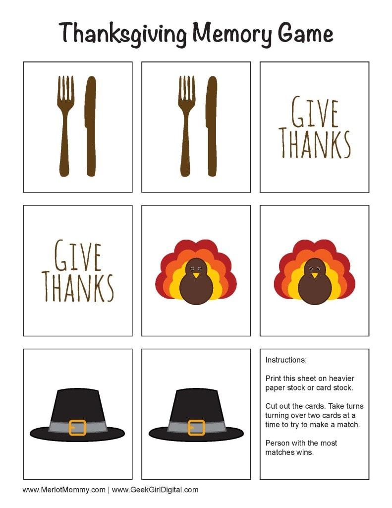 Thanksgiving Memory Game Free Printable