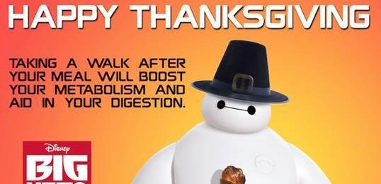 Happy Thanksgiving from Baymax #BigHero6 #BaLaLaLaLa #MeetBaymax