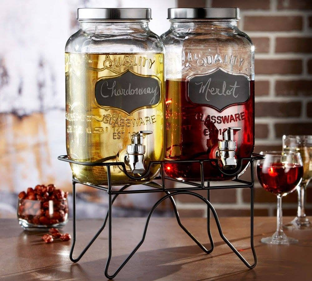 Style Setter Blackboard Glass Beverage Dispenser with Stand from Jay Companies