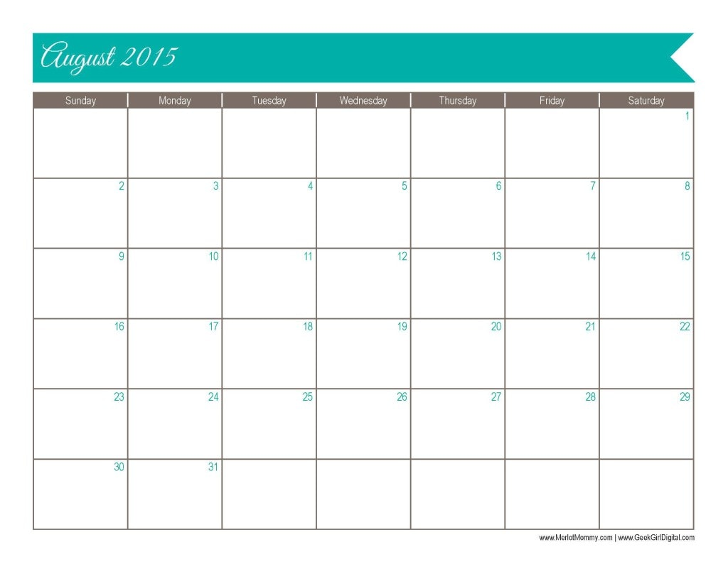 2015 August Calendar Page: 30 days of free printables from MerlotMommy.com and GeekGirlDigital.com