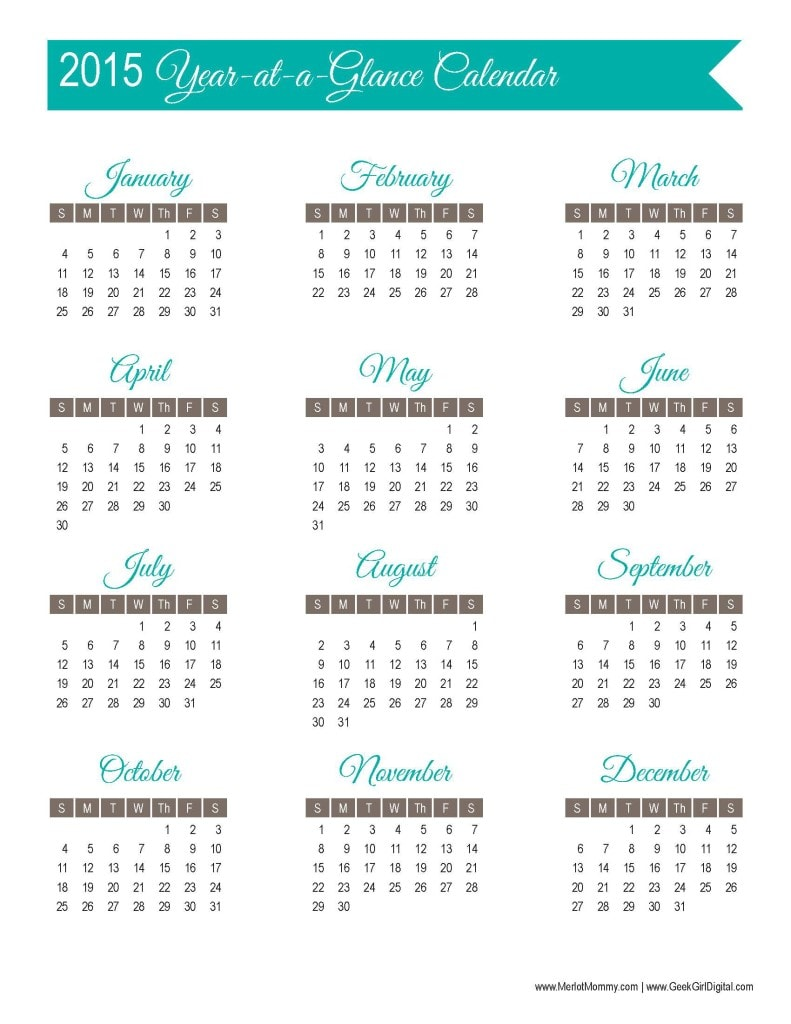 2015 Year-at-a-Glance Calendar Page: 30 days of free printables from MerlotMommy.com and GeekGirlDigital.com