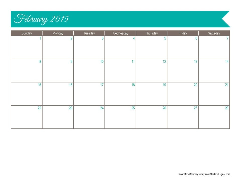 2015 February Calendar Page: 30 days of free printables from MerlotMommy.com and GeekGirlDigital.com