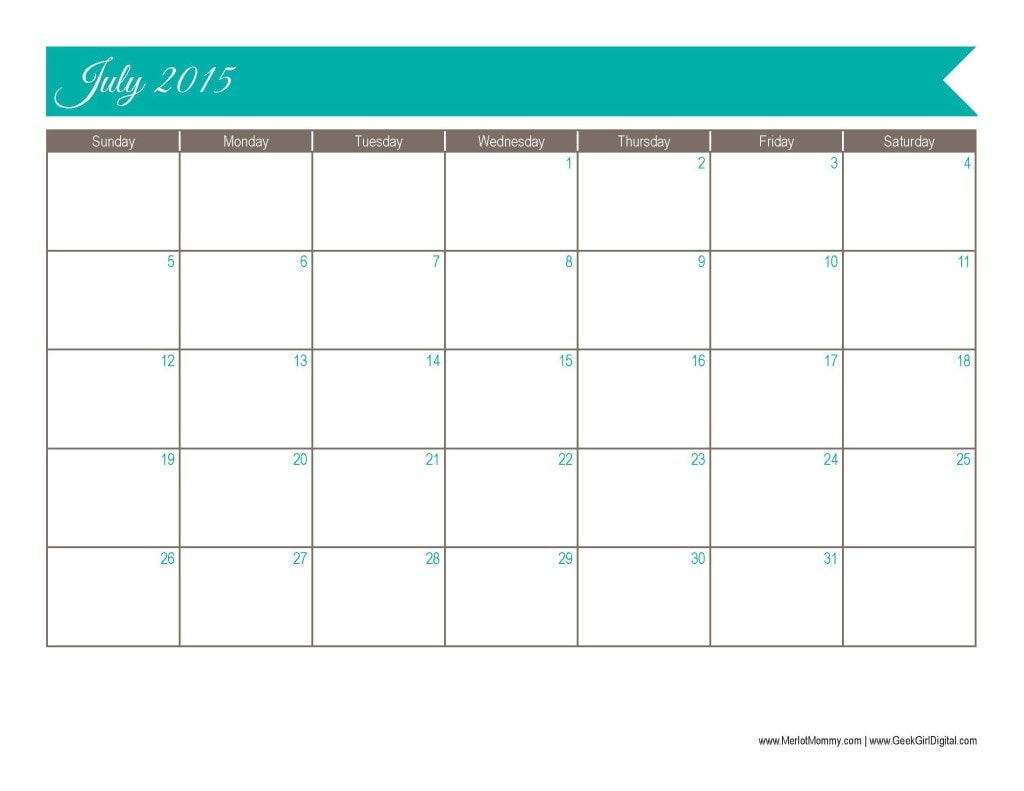 2015 July Calendar Page: 30 days of free printables from MerlotMommy.com and GeekGirlDigital.com