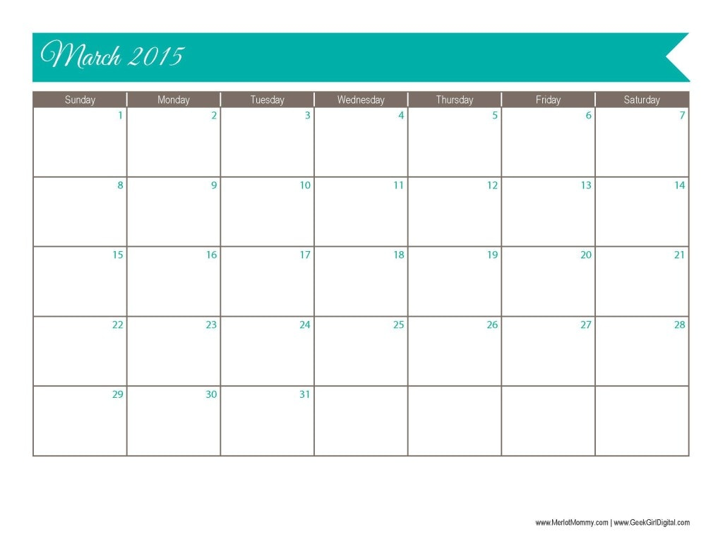 2015 March Calendar Page: 30 days of free printables from MerlotMommy.com and GeekGirlDigital.com