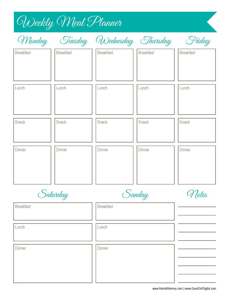Weekly Meal Planner Worksheet: 30 days of free printables from Whiskynsunshine.com and GeekGirlDigital.com