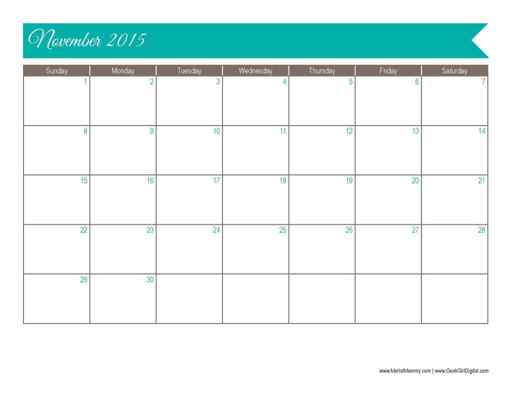 2015 November Calendar Page: 30 days of free printables from MerlotMommy.com and GeekGirlDigital.com