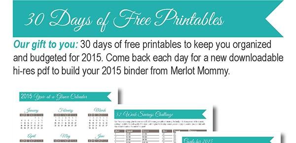 30 Days of Free Printables: Weekly Meal Planner Worksheet