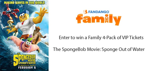 Enter to win a Family 4-Pack of VIP Tickets to see   The SpongeBob Movie: Sponge Out of Water  on 1/31 from Fandango Family and Merlot Mommy