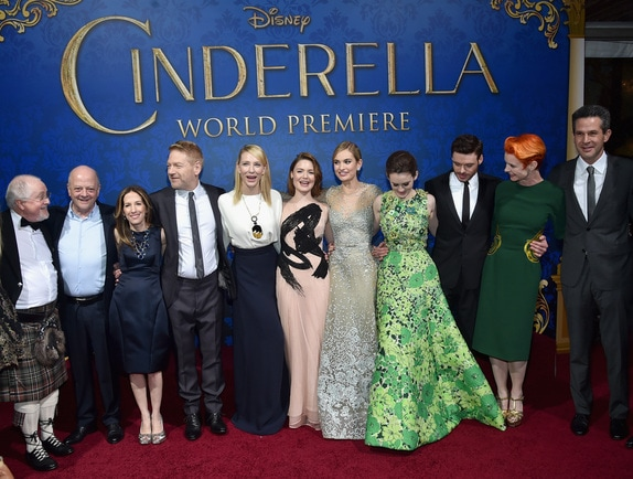 HOLLYWOOD, CA - MARCH 01: (L-R) Composer Patrick Doyle, producers David Barron and Allison Shearmur, director Kenneth Branagh, actors Cate Blanchett, Holliday Grainger, Lily James, Sophie McShera and Richard Madden, costume designer Sandy Powell and screenwriter Chris Weitz attend the World Premiere of Disney?s ?Cinderella?, Kenneth Branagh?s breathtaking live-action feature, at the legendary El Capitan Theatre on Hollywood Blvd, on March 1, 2015. The film's stars have been dazzling theater-goer?s and fans alike as they continue their tour around the world. Hollywood, California. (Photo by Alberto E. Rodriguez/Getty Images for Disney) *** Local Caption *** Patrick Doyle;David Barron;Allison Shearmur;Kenneth Branagh;Cate Blanchett;Holliday Grainger;Lily James;Sophie McShera;Richard Madden;Sandy Powell;Chris Weitz
