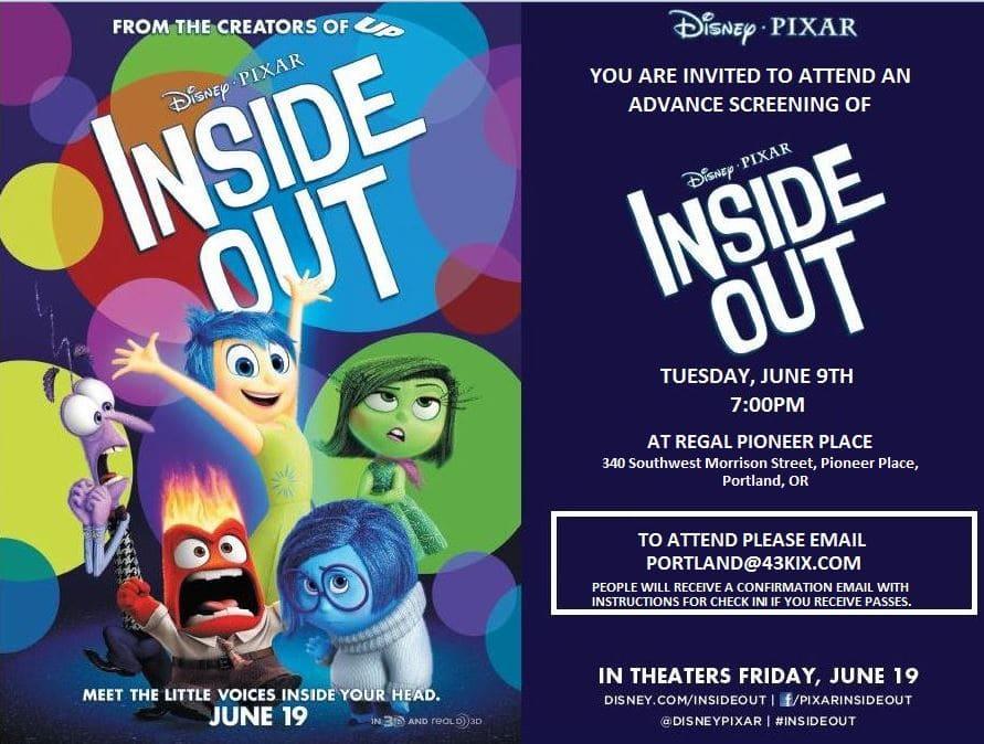 FREE Pixar Inside Out Screening in Portland 6/9 #PDX #InsideOut