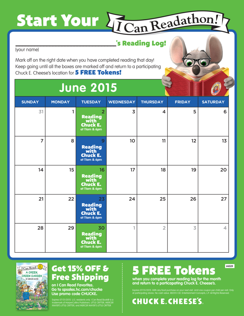 """Get Reading This Summer with the """"I Can Read: Reading With Chuck E."""" Program"""