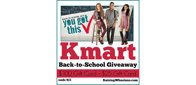 Kmart $100 GC + $25 Gift Card #Giveaway ends 9/2