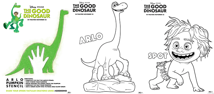 Disney/Pixar's THE GOOD DINOSAUR Pumpkin Stencil and Coloring Pages #GoodDino