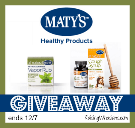 Maty's Healthy Products Giveaway ends 12/7