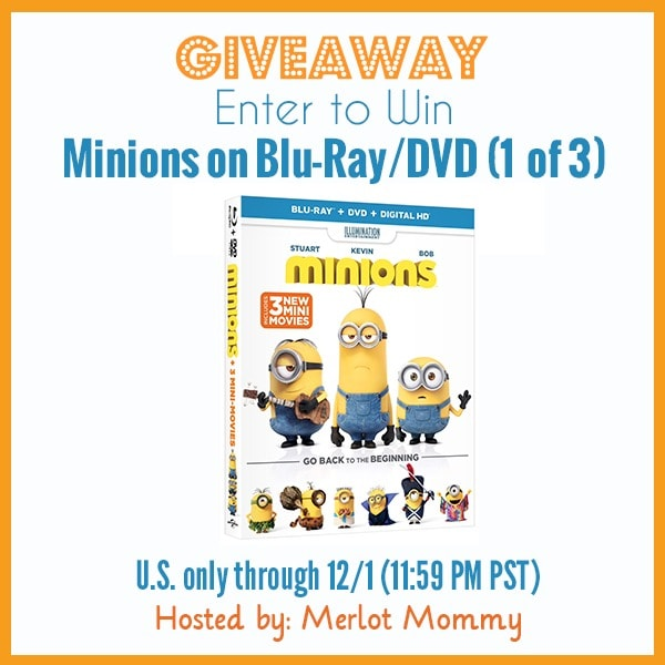 Minions Blu-Ray/DVD #Giveaway ends 12/1