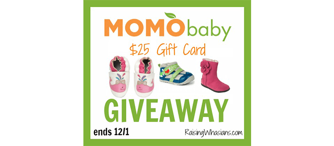 Enter to Win $25 Gift Card to Momo Baby Shoes #Giveaway ends 12/1