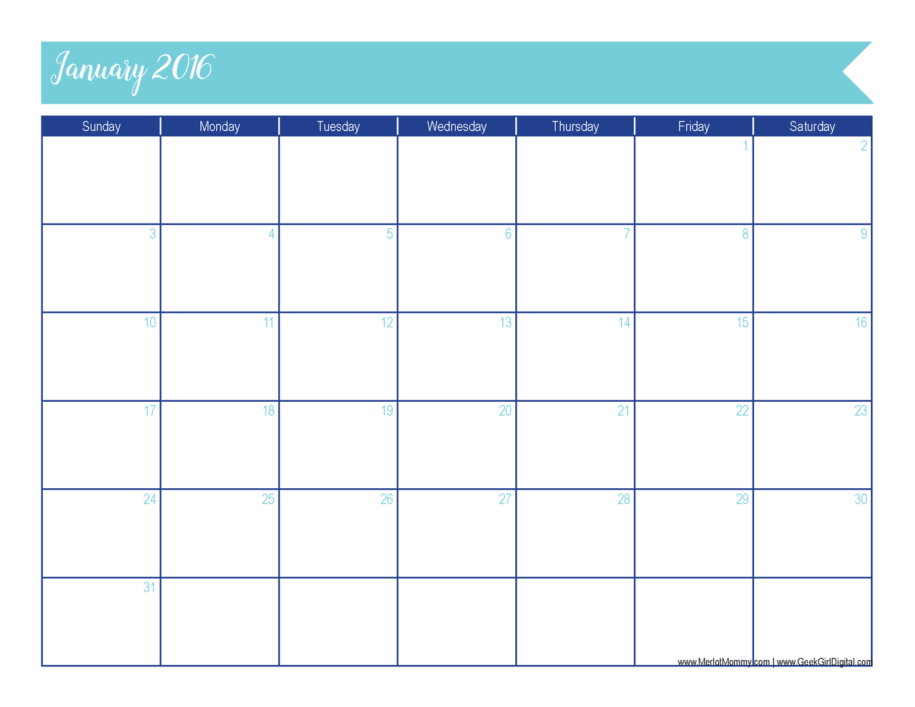January 2016 Calendar: 30 Days of Free Printables