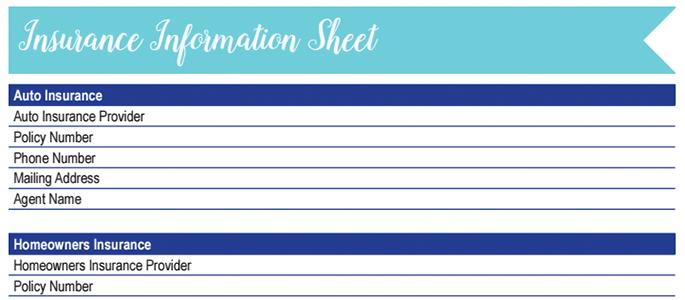 Insurance Information Worksheet: 30 Days of Free Printables