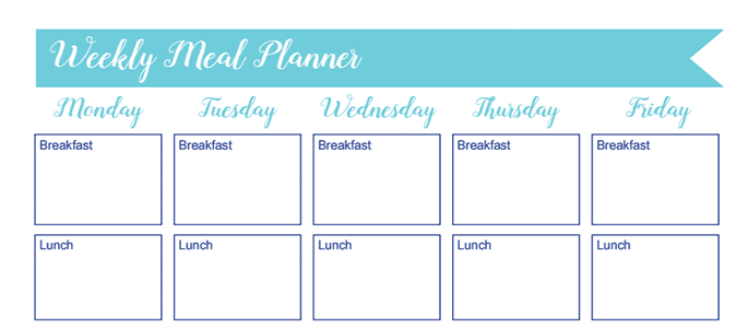 Meal Planner Worksheet: 30 Days of Free Printables