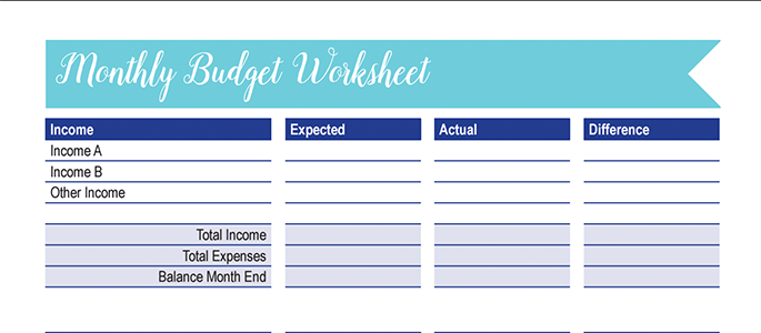 Monthly Budget Worksheet: 30 Days of Free Printables ...