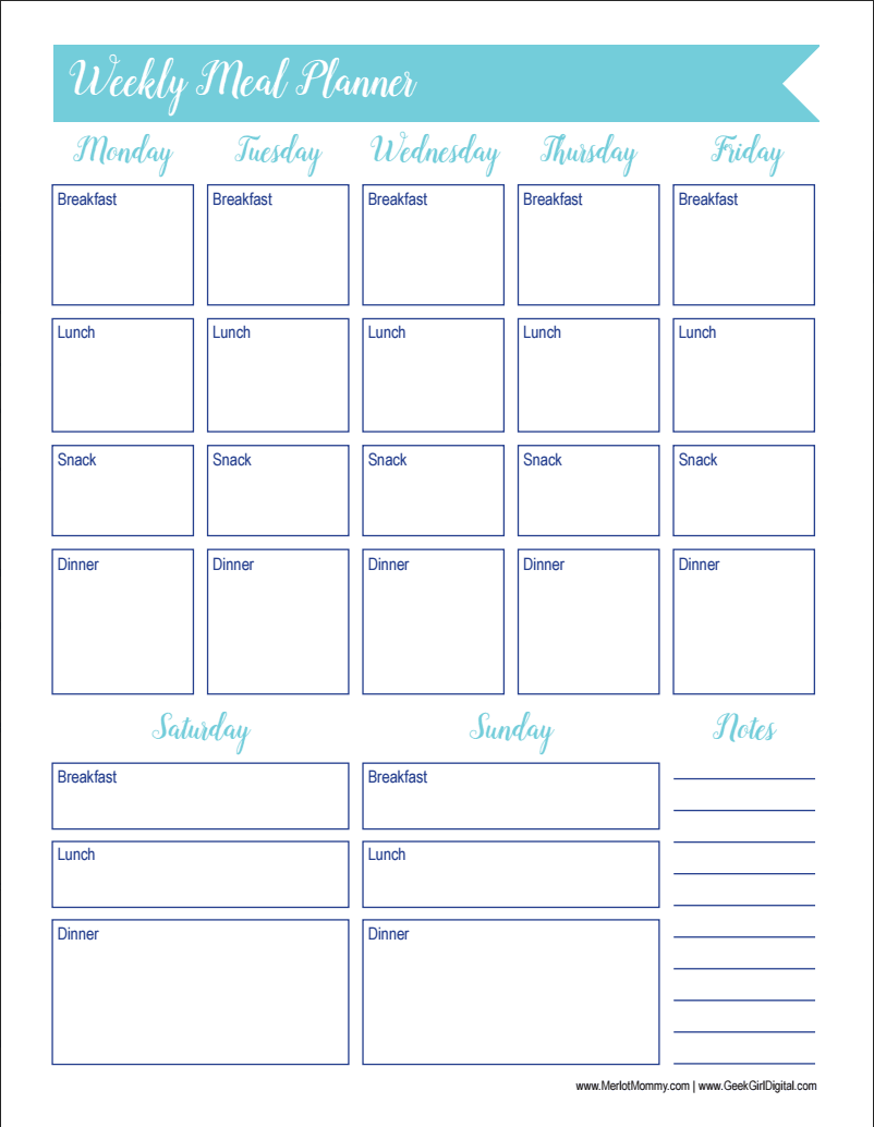 This is an image of Crafty Meal Tracker Template
