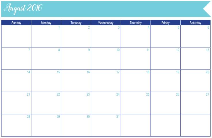 August 2016 Calendar: 30 Days of Free Printables