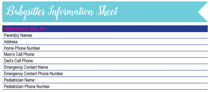 Babysitter Information Worksheet: 30 Days of Free Printables
