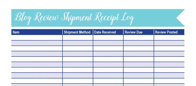 Blog Review Shipment Worksheet: 30 Days of Free Printables