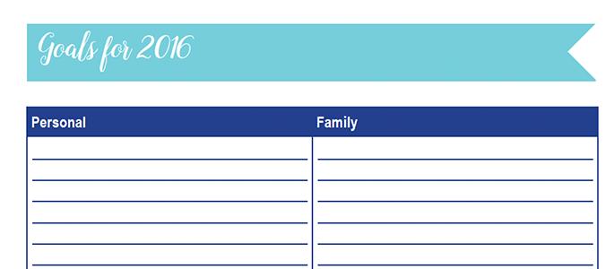 2016 Goals Worksheet: 30 Days of Free Printables