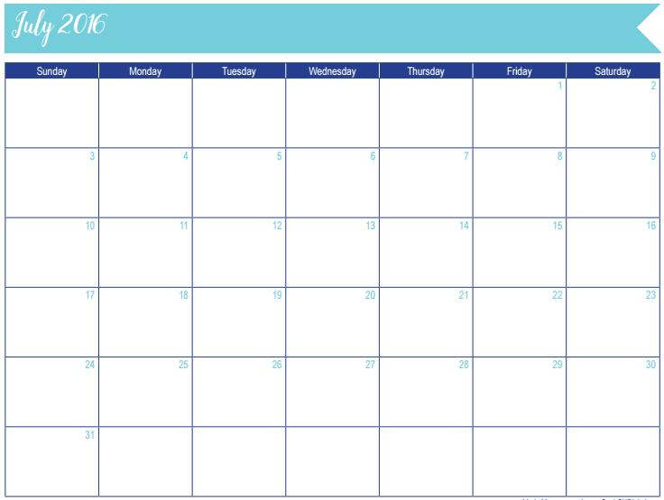 July 2016 Calendar: 30 Days of Free Printables