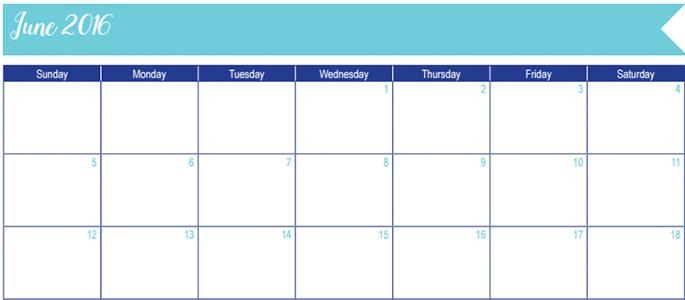 June 2016 Calendar: 30 Days of Free Printables