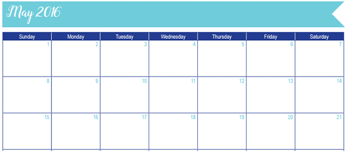 May 2016 Calendar: 30 Days of Free Printables