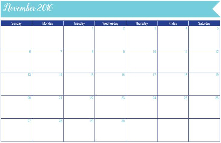 November 2016 Calendar: 30 Days of Free Printables