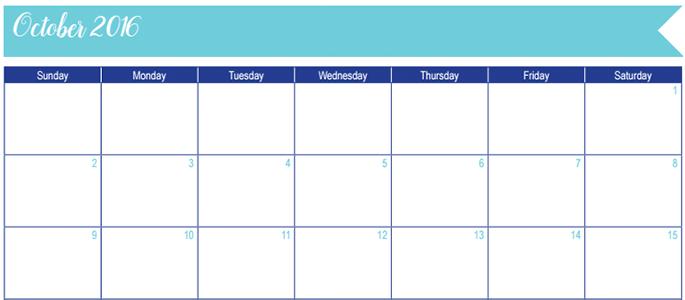 October 2016 Calendar: 30 Days of Free Printables