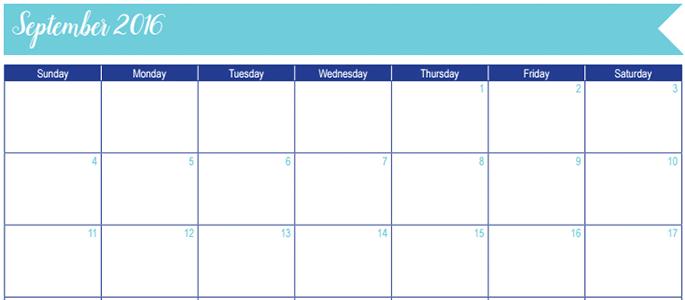 September 2016 Calendar: 30 Days of Free Printables
