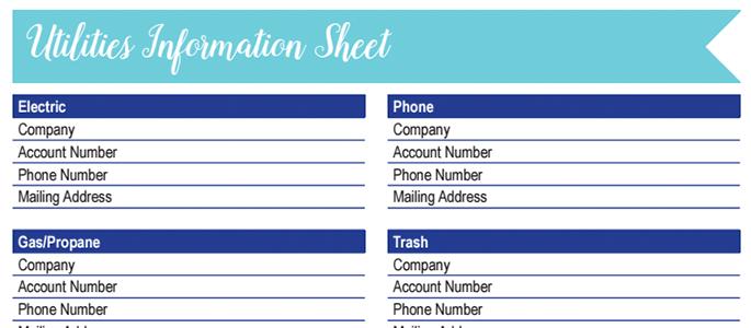 Utilities Information Worksheet: 30 Days of Free Printables