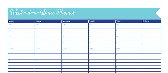 Week-at-a-Glance: 30 Days of Free Printables