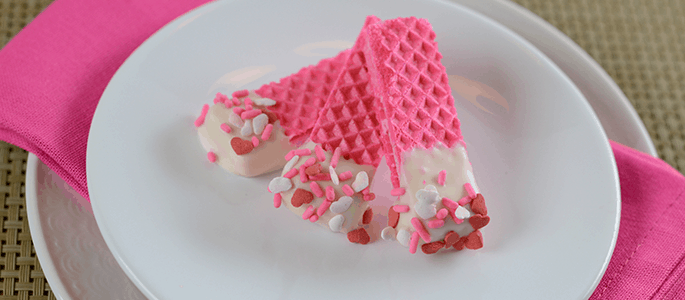 Chocolate-Dipped Wafer Cookies for Valentine's Day