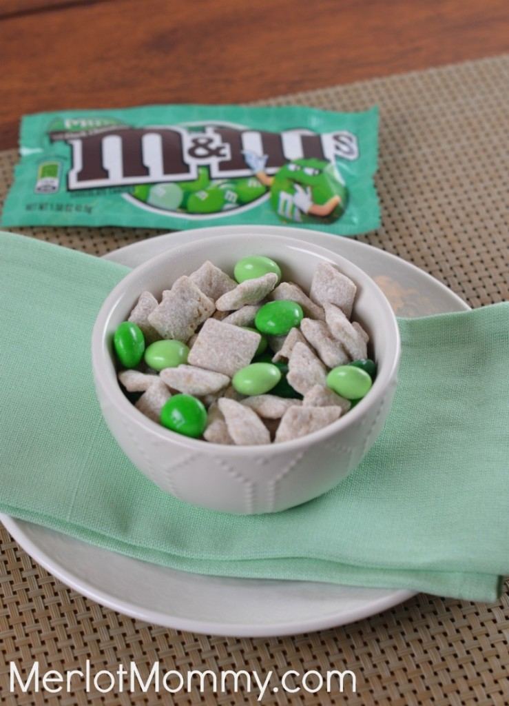 White Chocolate + Mint Muddy Buddies Snack Mix