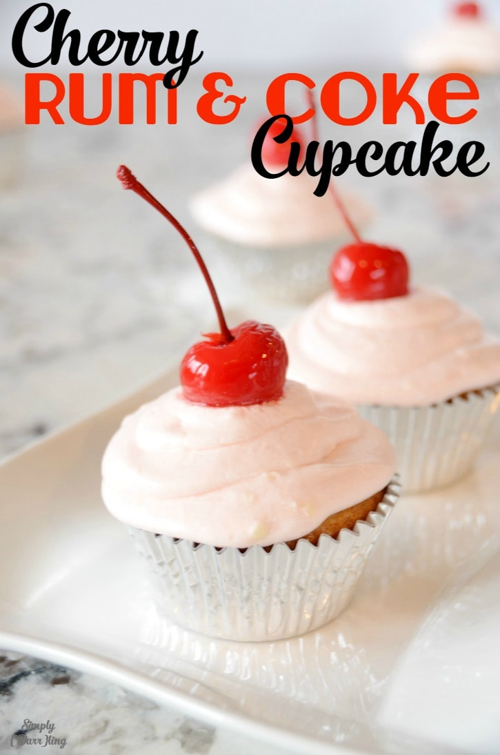 Cherry Rum and Coke Cupcakes from SimplyDarrling.com