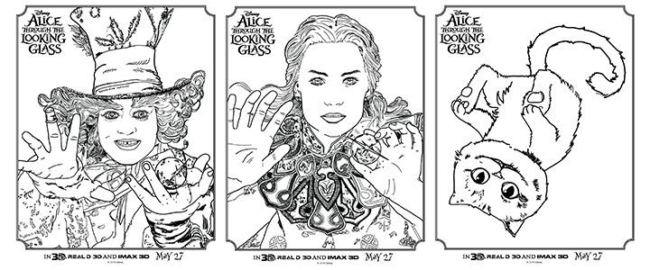 Disney Alice Coloring + Activity Sheets