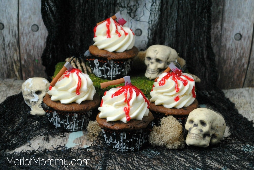Bloody Axe Cupcakes for Halloween - The Walking Dead Cupcakes